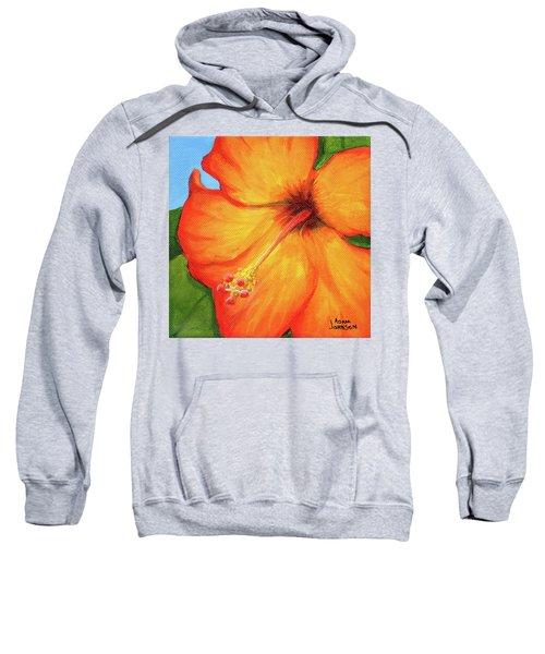 Orange Hibiscus Flower Sweatshirt