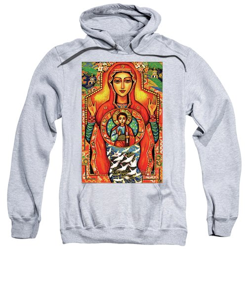 Sweatshirt featuring the painting Our Lady Of The Sign by Eva Campbell