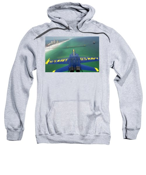 Sweatshirt featuring the photograph Over Pensacola Beach by Specialist 3rd Class Andrew Johnson