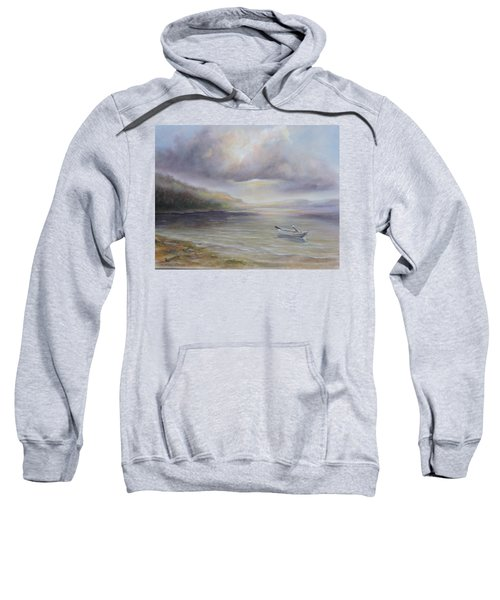 Beach By Sruce Run Lake In New Jersey At Sunrise With A Boat Sweatshirt