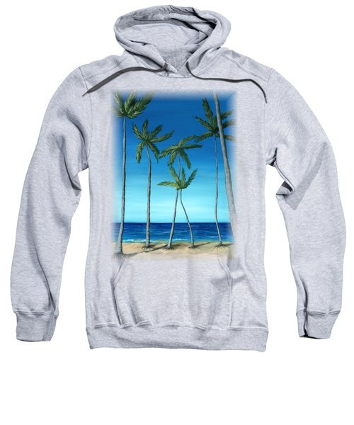 Sweatshirt featuring the painting Palm Trees On Blue by Anastasiya Malakhova