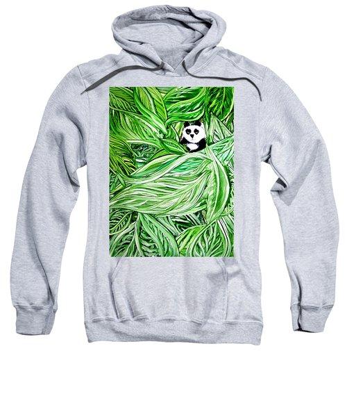 Panda Bear Sitting In Leaves Alcohol Inks Sweatshirt