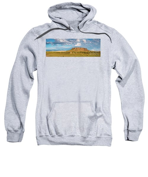 Panorama Of Black Mesa At San Ildefonso Pueblo - New Mexico Land Of Enchantment Sweatshirt