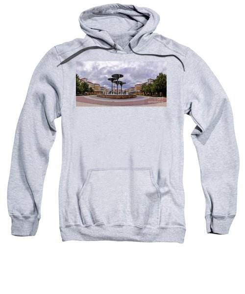 Panorama Of Texas Christian University Campus Commons And Frog Fountain - Fort Worth Texas Sweatshirt