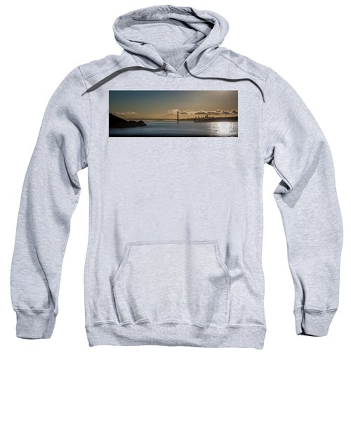 Panoramic View Of Downtown San Francisco Behind The Golden Gate  Sweatshirt
