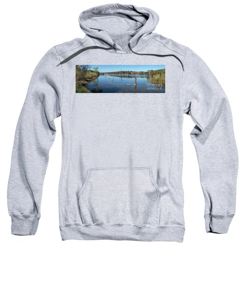 Panoramic View Of Large Lake With Grass On The Shore Sweatshirt