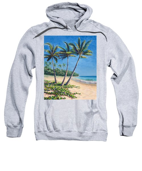 Tropical Paradise Landscape - Hawaii Beach And Palms Painting Sweatshirt