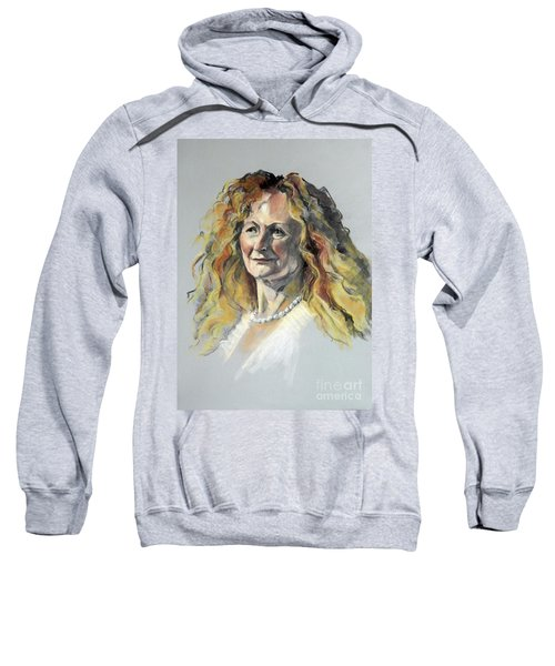 Pastel Portrait Of Woman With Frizzy Hair Sweatshirt