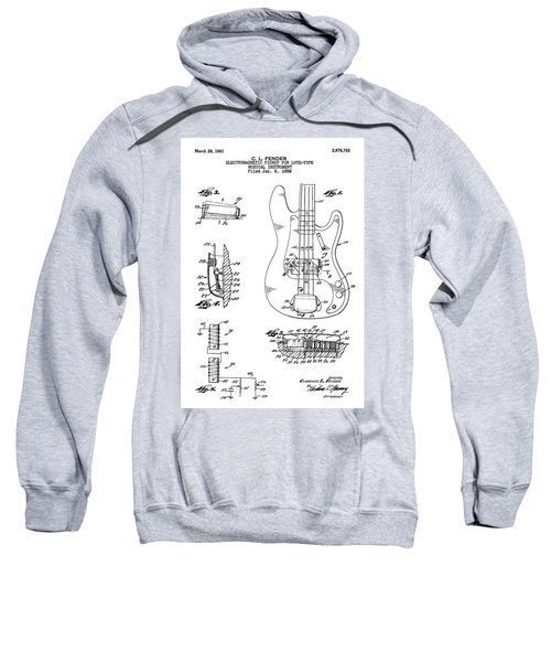 Patent Drawing For The 1959 Electromagnetic Pickup For Lute Type Musical Instrument By C. L. Fender Sweatshirt