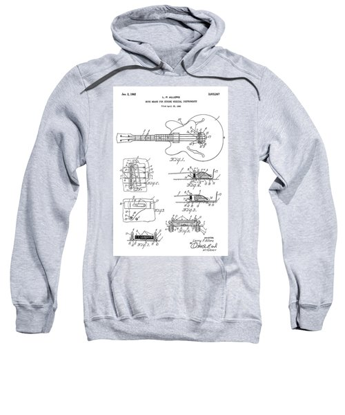 Patent Drawing For The 1960 Mute Means For String Musical Instruments By L. P. Allers Sweatshirt