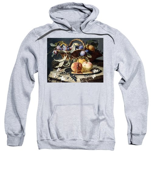 Peaches And Plums In A Wicker Basket, Peaches On A Silver Dish And Narcissi On Stone Plinths Sweatshirt