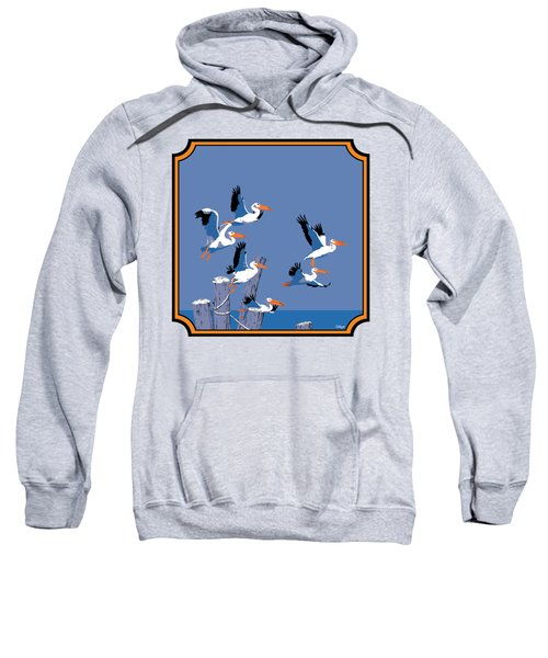 Pelicans In Flight Tropical Seascape - Abstract - Square Format Sweatshirt