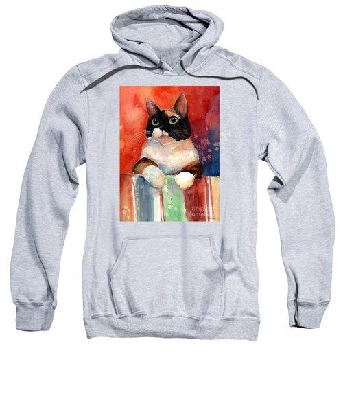 Pensive Calico Tubby Cat Watercolor Painting Sweatshirt by Svetlana Novikova