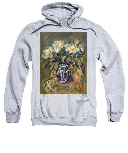 Peonies In Delft Blue Vase On Quilt Sweatshirt