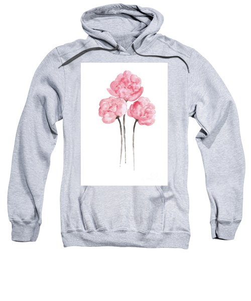 Peony Bouquet Anniversary Woman Art Print, Pink Paper Flower Watercolor Painting Sweatshirt