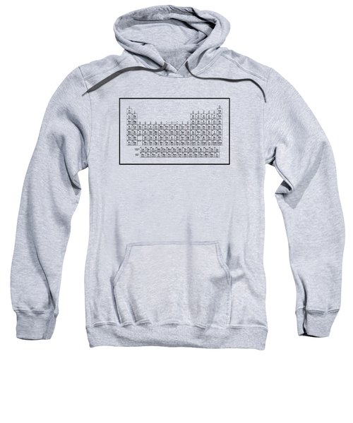 Periodic Table Of Elements - Black On Light Metal Sweatshirt