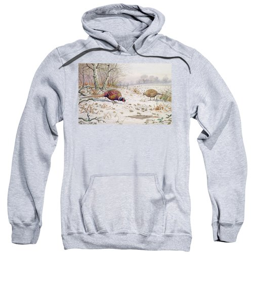 Pheasant And Partridge Eating  Sweatshirt by Carl Donner