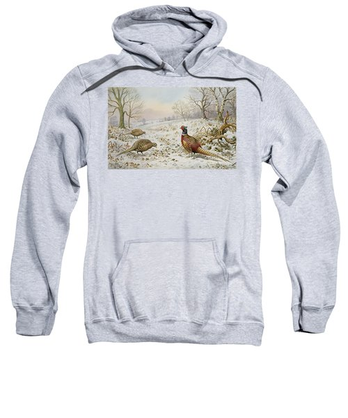 Pheasant And Partridges In A Snowy Landscape Sweatshirt by Carl Donner