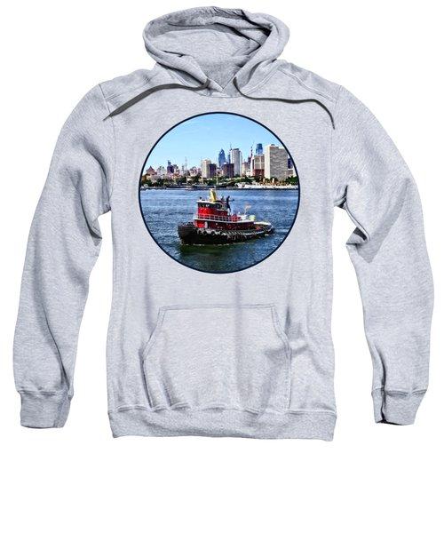 Philadelphia Pa - Tugboat By Philadelphia Skyline Sweatshirt by Susan Savad