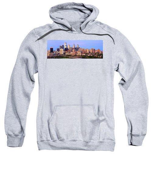 Philadelphia Skyline At Dusk Sunset Pano Sweatshirt by Jon Holiday
