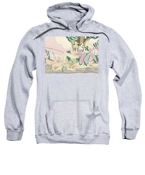 Picnic And Fishing Scene Sweatshirt