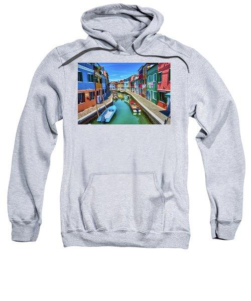 Picturesque Buildings And Boats In Burano Sweatshirt