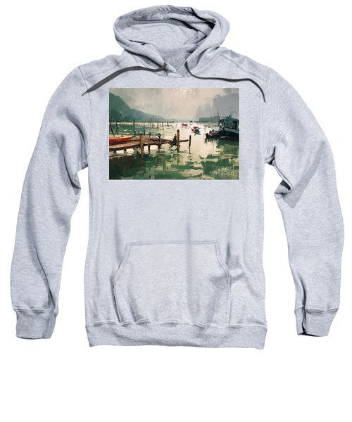 Sweatshirt featuring the painting Pier by Tithi Luadthong