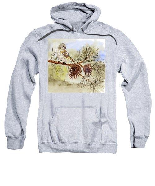 Pine Siskin Among The Pinecones Sweatshirt