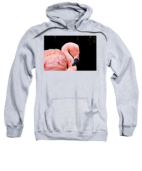 Pink Flamingo On Black Sweatshirt