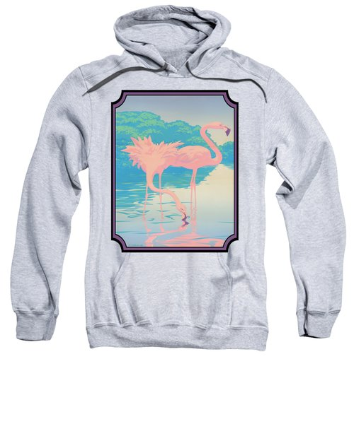 Pink Flamingos Abstract Retro Pop Art Nouveau Tropical Bird Art 80s 1980s Florida Decor Sweatshirt