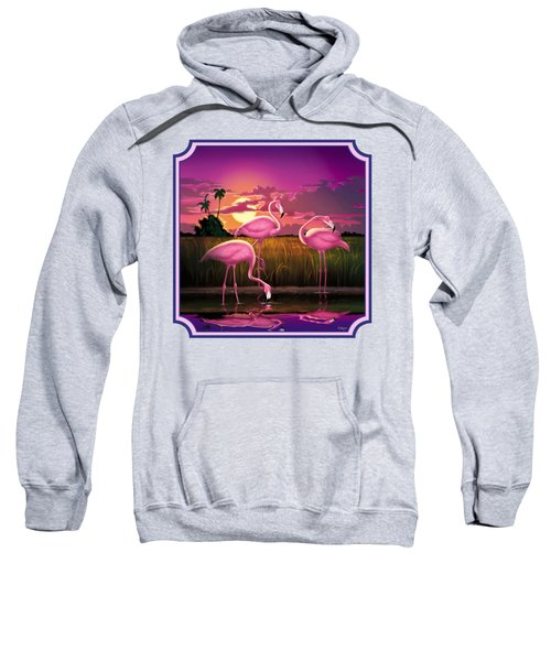 Pink Flamingos At Sunset Tropical Landscape - Square Format Sweatshirt by Walt Curlee