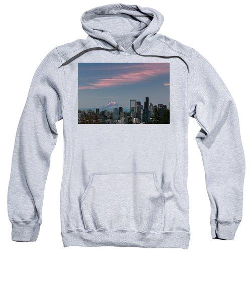 Pink Highlights Over Seattle-mt. Rainier Sweatshirt
