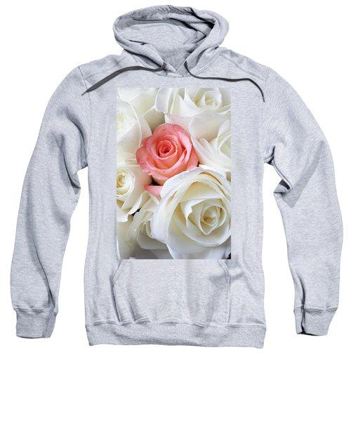 Pink Rose Among White Roses Sweatshirt