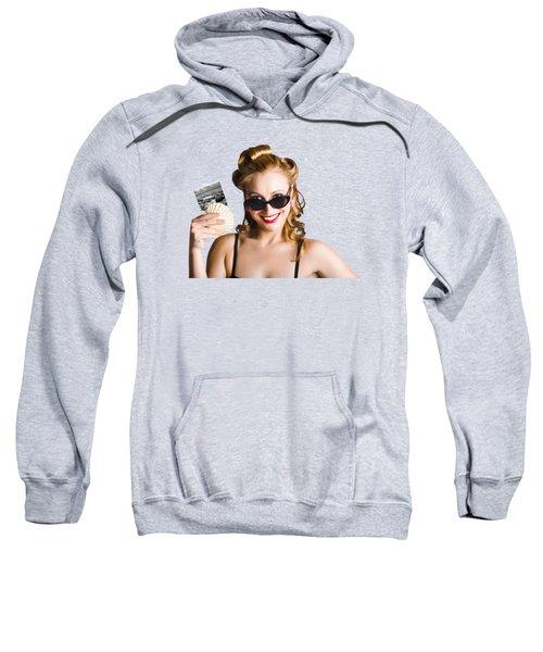 Pinup Girl Holding Sea Shell And Photo Sweatshirt