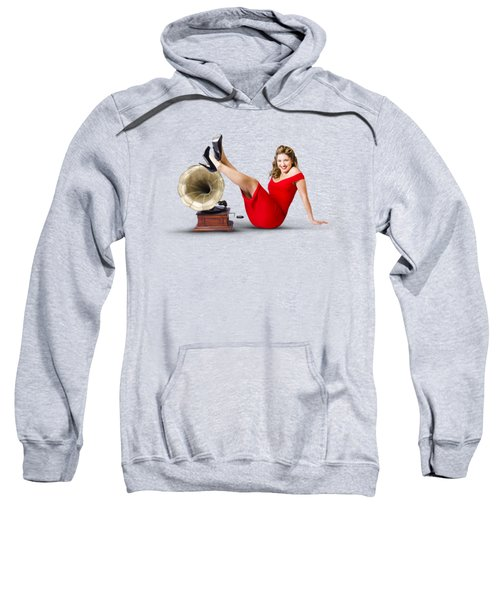 Pinup Girl In Red Dress Playing Classical Music Sweatshirt by Jorgo Photography - Wall Art Gallery