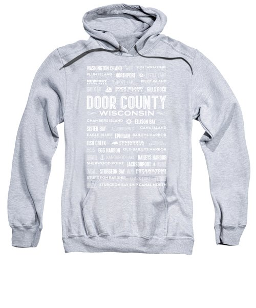 Sweatshirt featuring the digital art Places Of Door County On Blue by Christopher Arndt