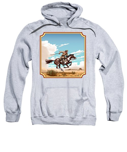 Pony Express Rider - Western Americana - Square Format Sweatshirt by Walt Curlee
