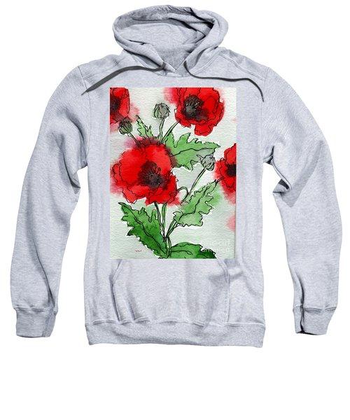 Watercolor Poppies Sweatshirt