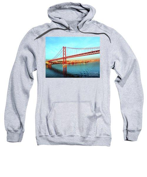 Portugal Lisbon Approaching The 25 De Abril River Bridge Sweatshirt