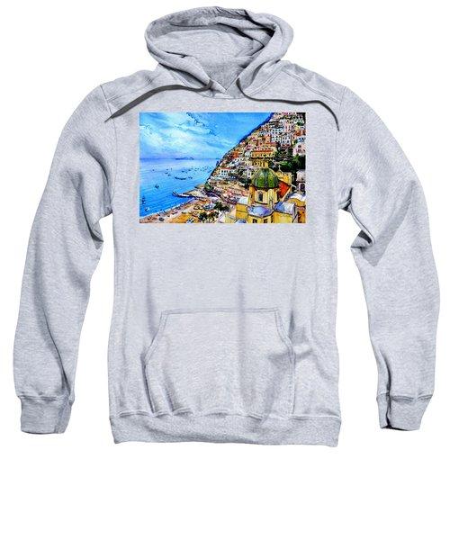 Sweatshirt featuring the painting Positano by Hanne Lore Koehler