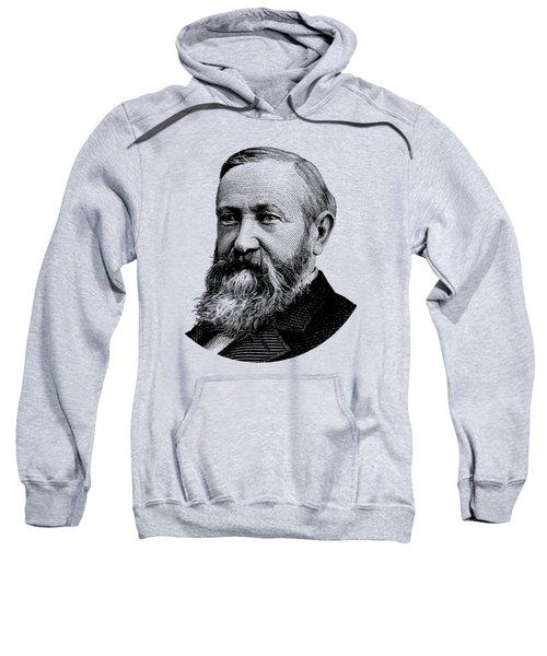 President Benjamin Harrison Graphic - Black And White Sweatshirt
