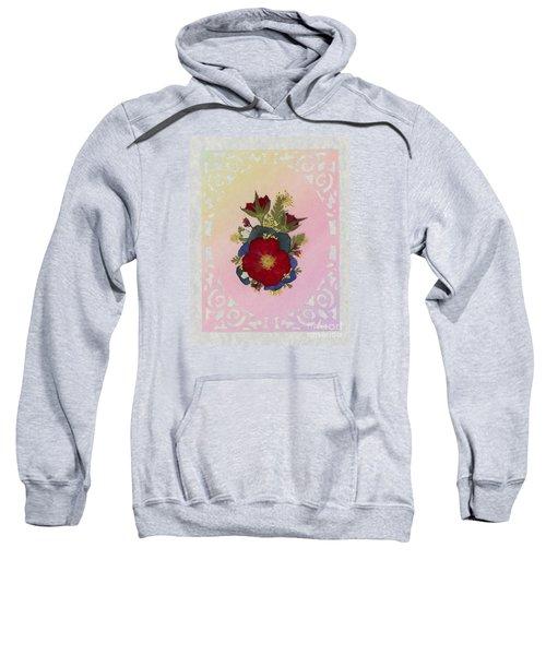 Pressed Flowers Arrangement With Red Roses Sweatshirt