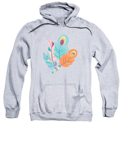 Pretty Boho Peacock Feather Pattern Sweatshirt