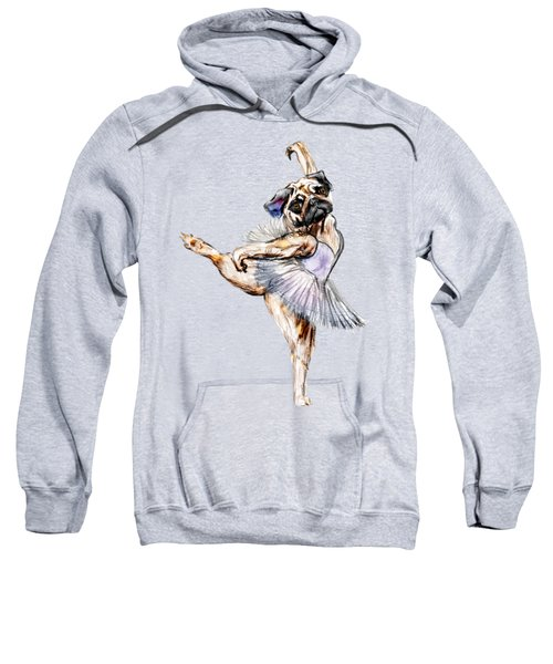 Pug Ballerina Dog Sweatshirt by Notsniw Art