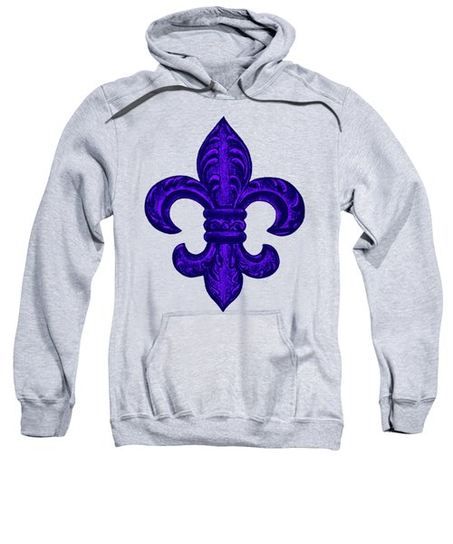 Purple French Fleur De Lys, Floral Swirls Sweatshirt by Tina Lavoie