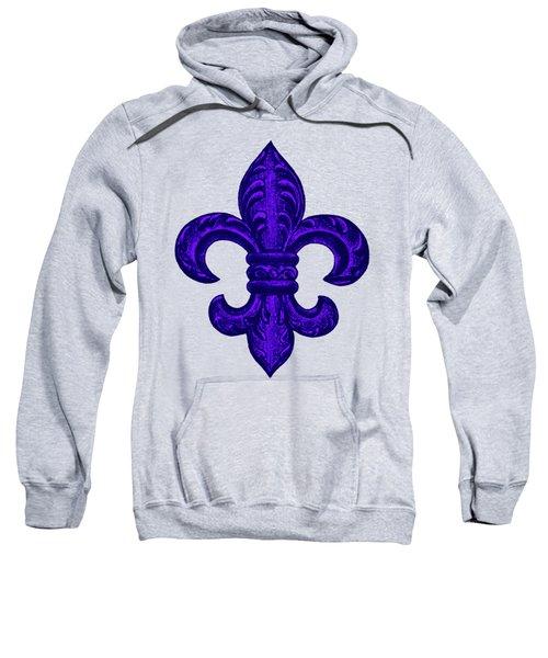 Purple French Fleur De Lys, Floral Swirls Sweatshirt