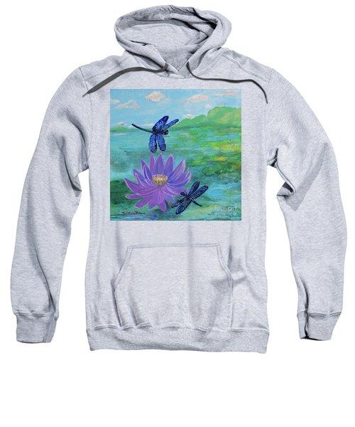 Purple Water Lily And Dragonflies Sweatshirt