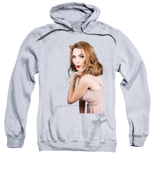 Quirky Portrait Of A Posing 50s Girl In Pinup Style Sweatshirt