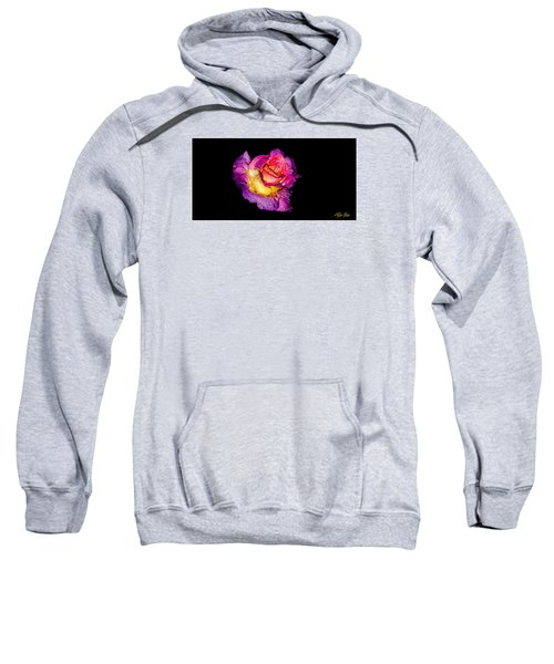 Sweatshirt featuring the photograph Rain-melted Rose by Rikk Flohr
