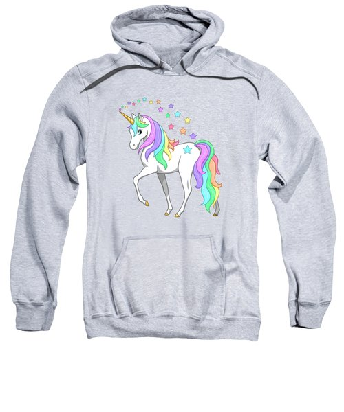 Rainbow Unicorn Clouds And Stars Sweatshirt by Crista Forest